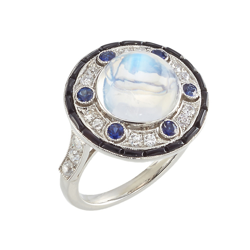 Cicada Moonstone, Sapphire and Diamond Platinum Ring
