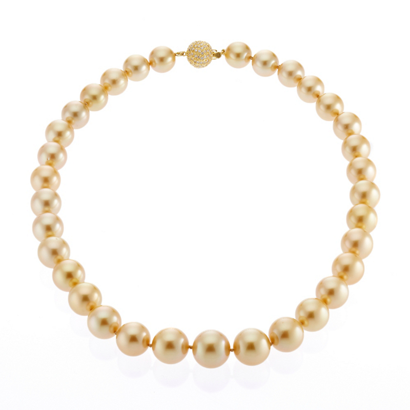 Gump's Graduated Golden South Sea Pearl and Diamond Necklace