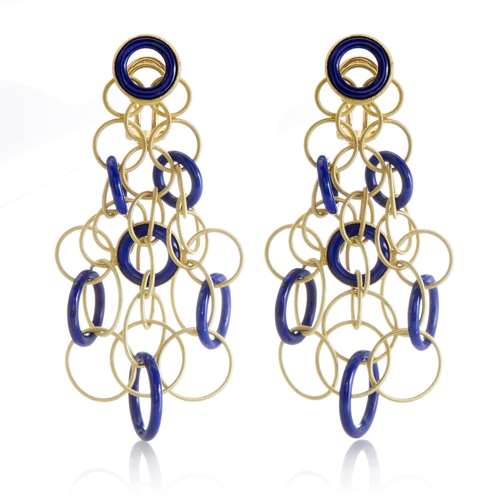 Buccellati Hawaii Pendant Earrings With Lapis