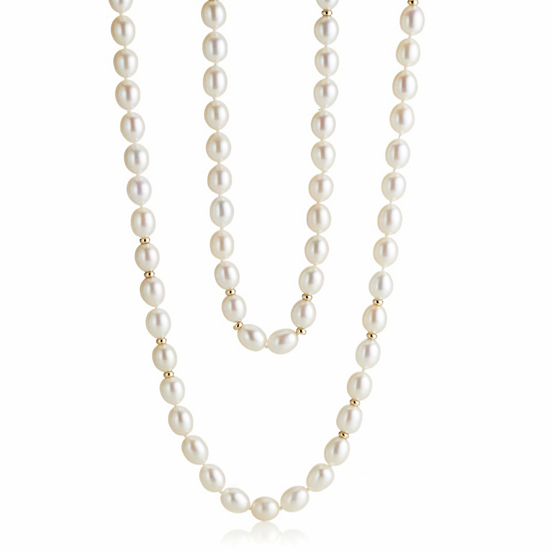 Gump's Oval Pearl and Gold Rope