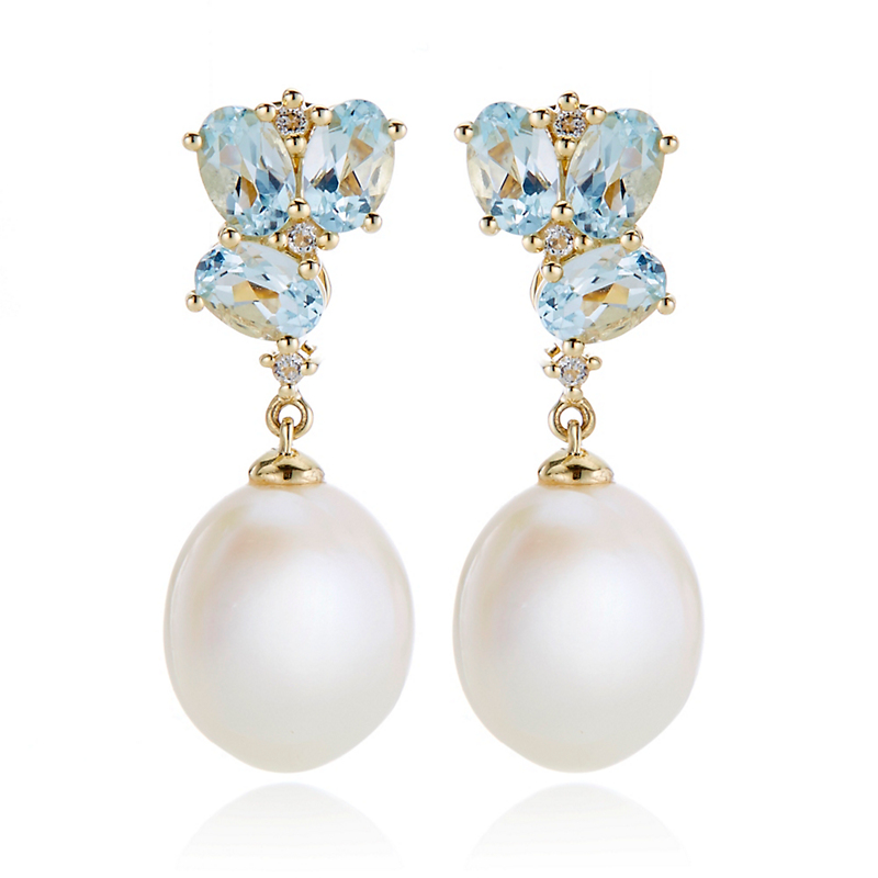 Gump's Aquamarine & Diamond Cluster With Pearl Drop Earrings