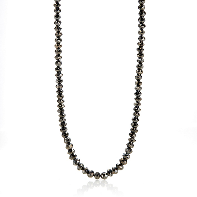 Gump's Faceted Black Diamond Necklace, 4mm