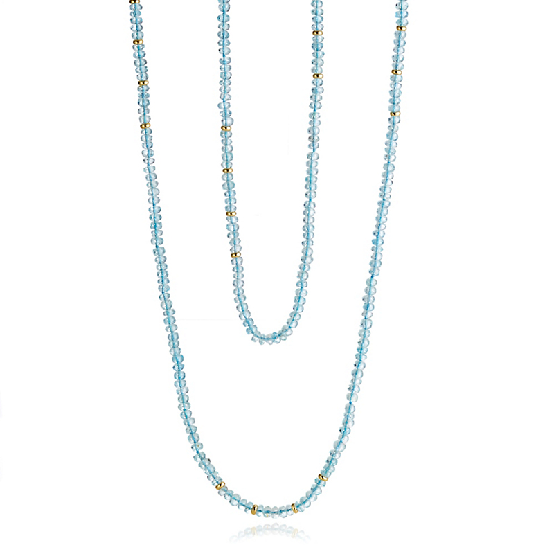 Gump's Faceted Aquamarine and Gold Rope