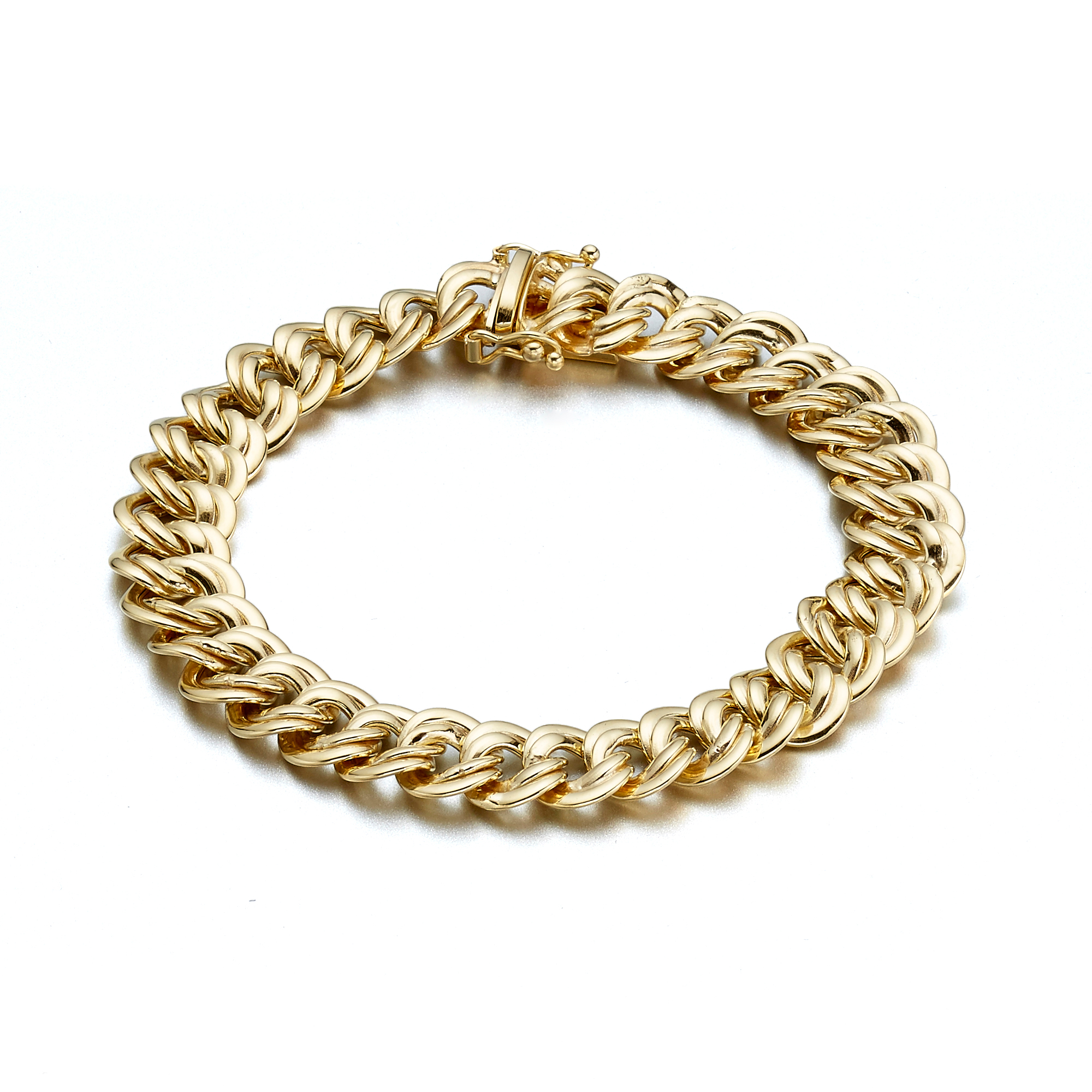 Gold Double Curb Link Bracelet
