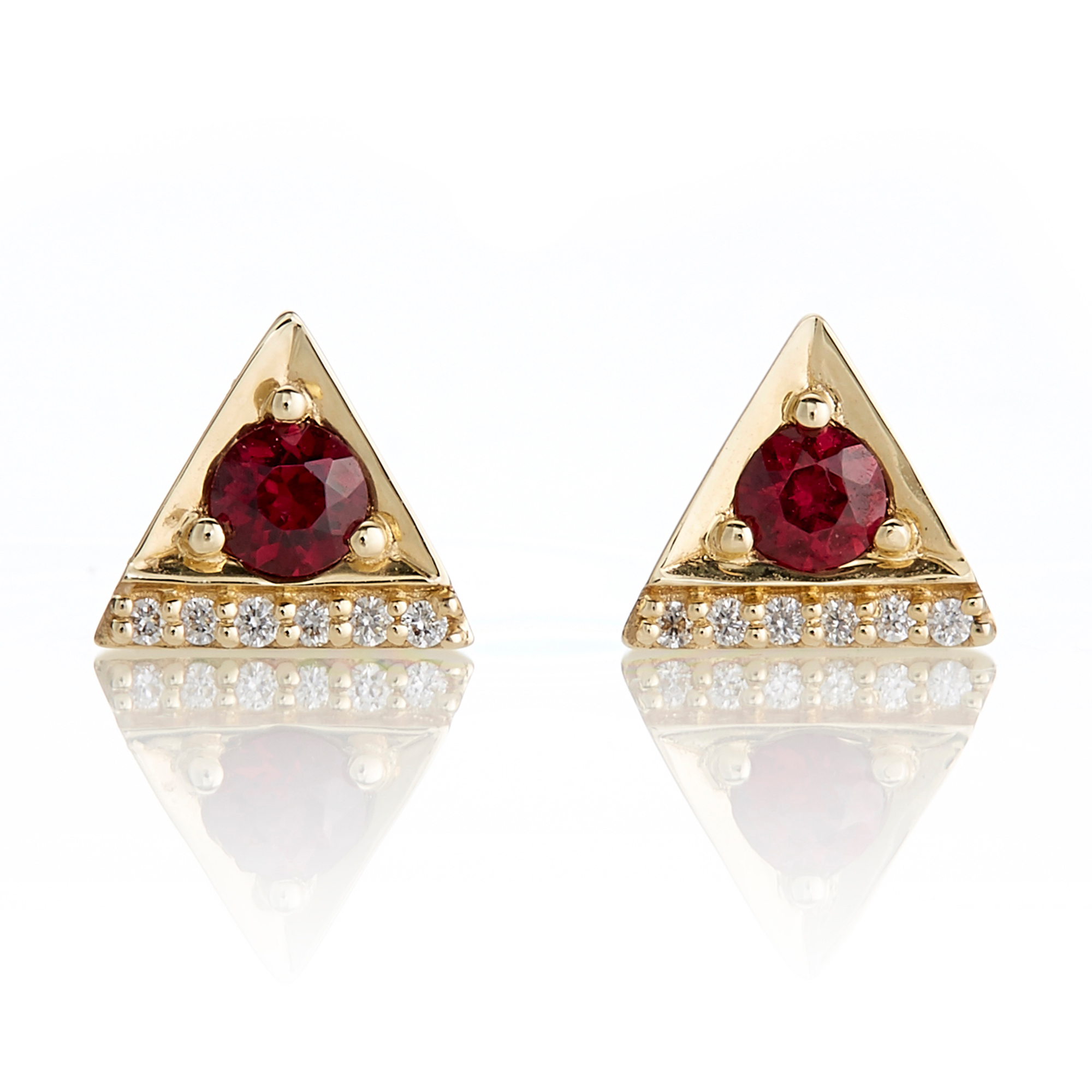 Jane Taylor Petite Red Garnet & Diamond Triangle Stud Earrings