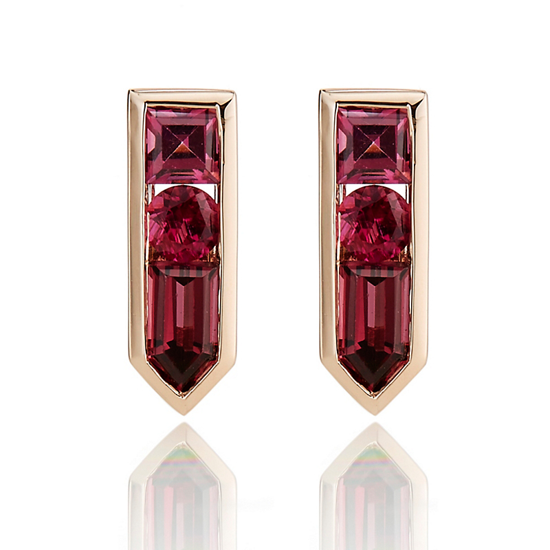 Jane Taylor Mixed Garnet & Tourmaline Arrow Stud Earrings