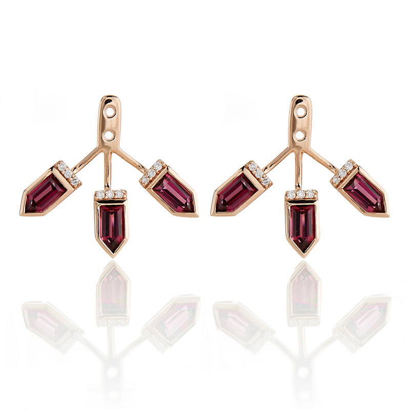 Jane Taylor Red Garnet & Diamond Triple Arrow Earring Jackets