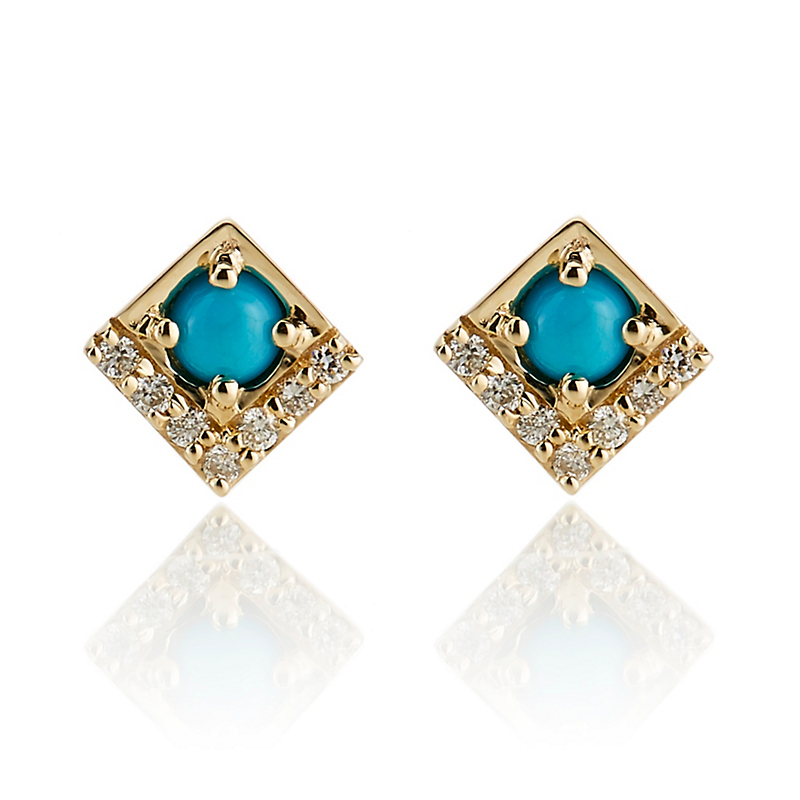 Jane Taylor Turquoise & Diamond Petite Square Stud Earrings