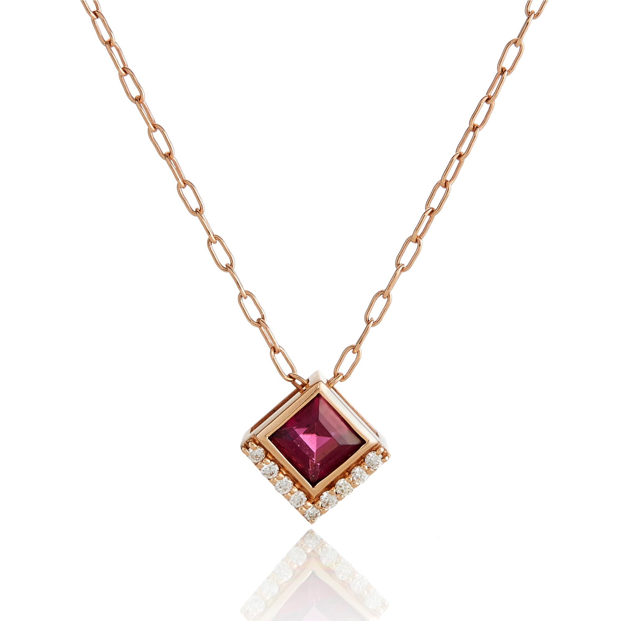 Jane Taylor Rhodolite Garnet & Diamond Small Square Necklace
