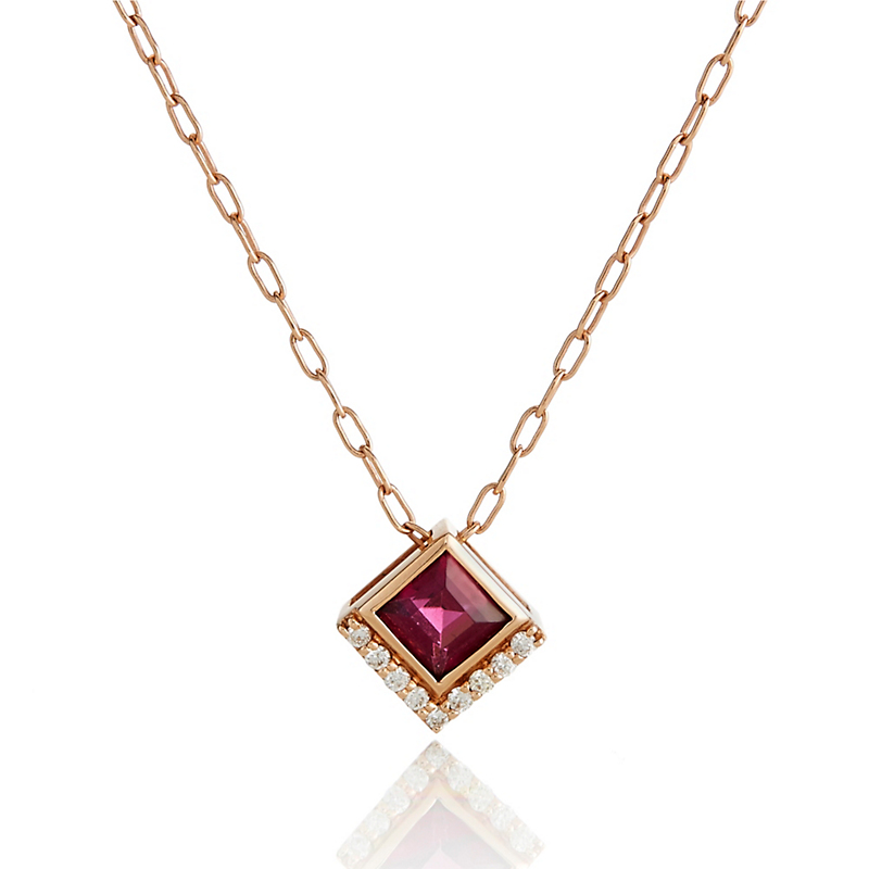 Jane Taylor Rholodite Garnet & Diamond Small Square Necklace