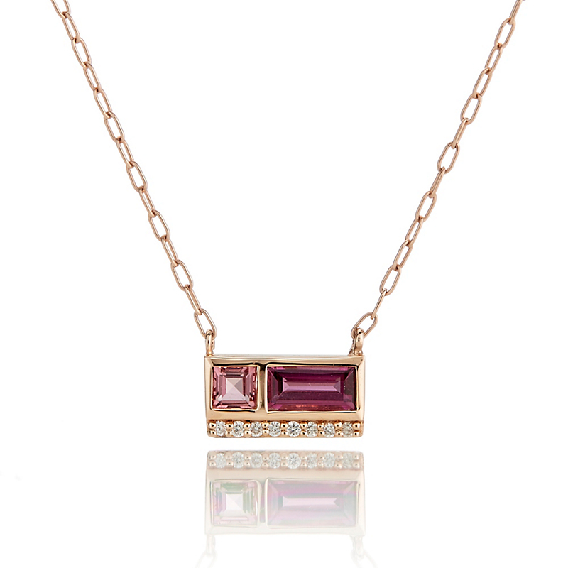 Jane Taylor Rholodite Garnet, Tourmaline & Diamond Two-Stone Necklace