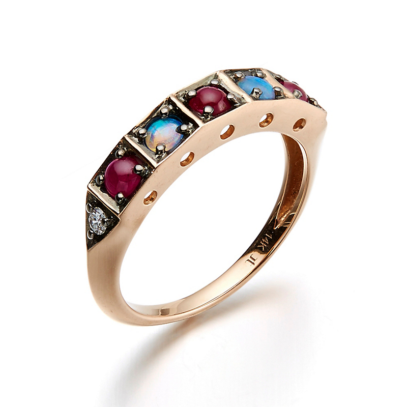 Jane Taylor Ruby, Opal & Diamond Cabochon Ring