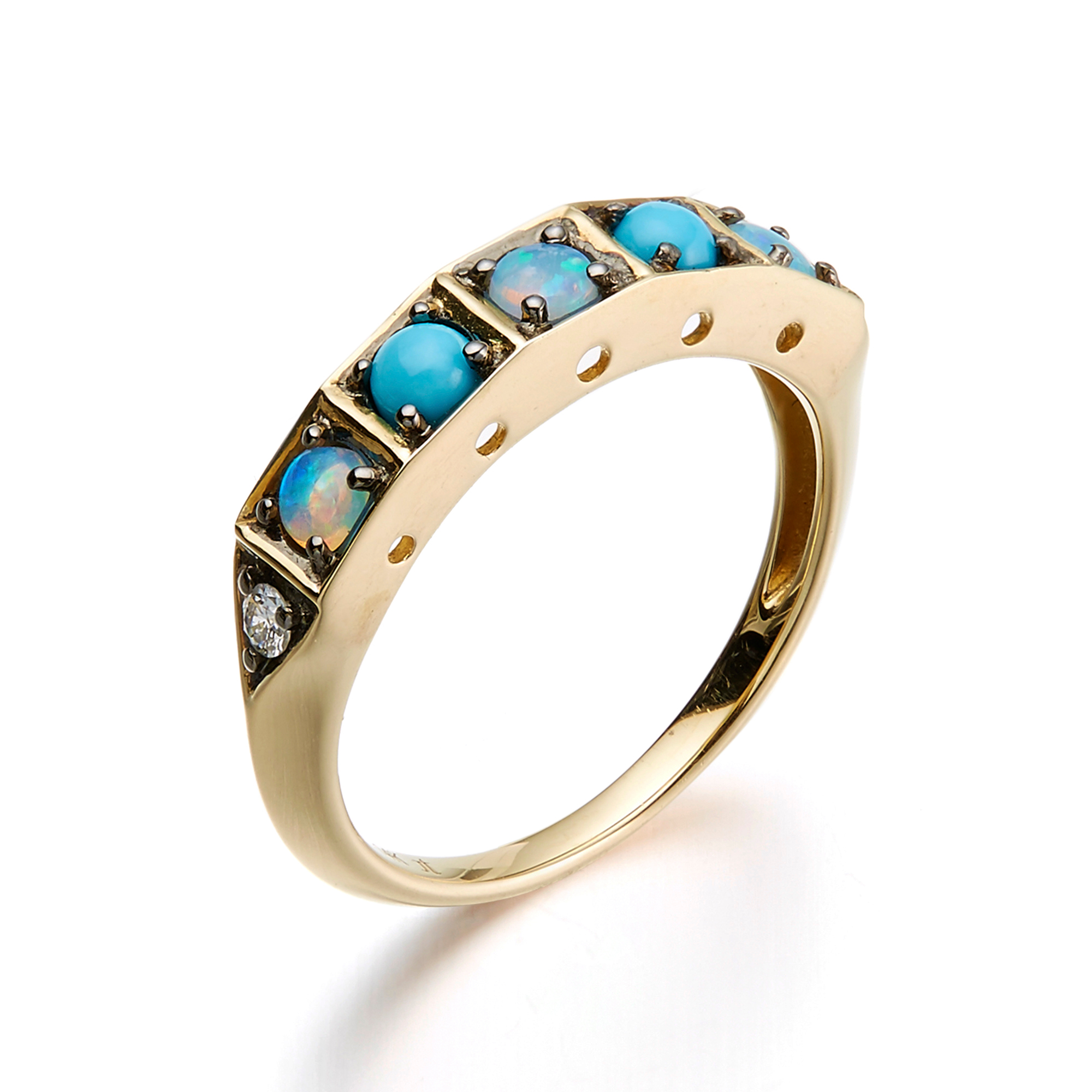 Jane Taylor Turquoise, Opal & Diamond Cabochon Ring