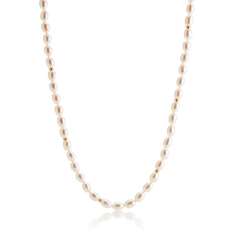 Gump's  Small Oval Pearl & Gold Necklace