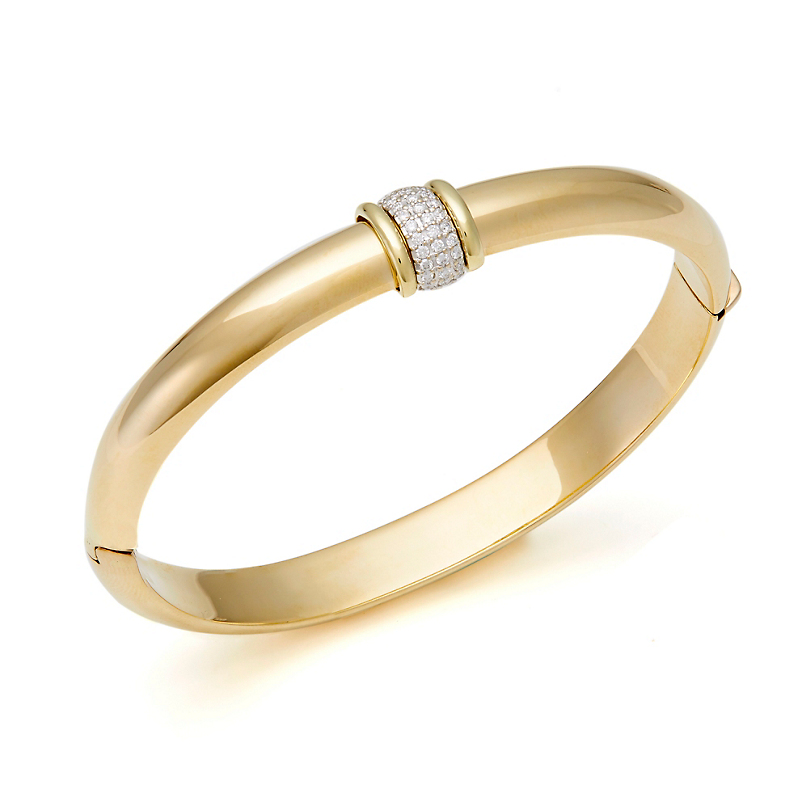 Thick Gold & Pavé Diamond Accent Bangle