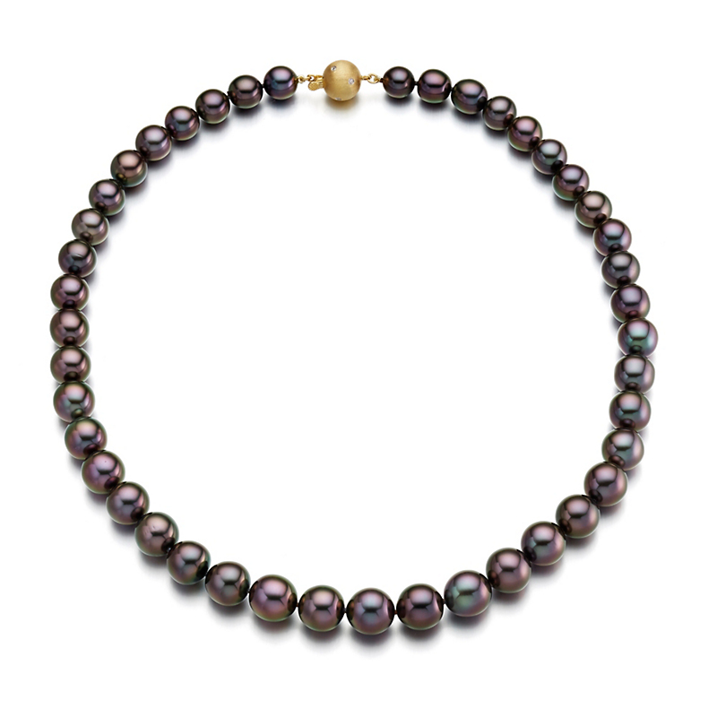 Gump's Graduated Aubergine Tahitian Pearl & Gold Necklace