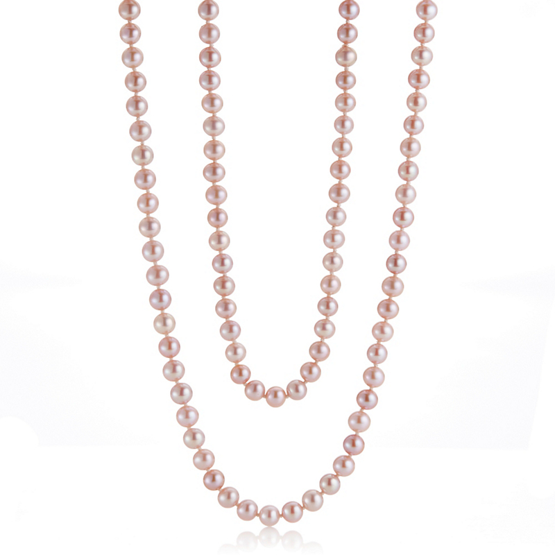Gump's Pink Freshwater Pearl Rope, 6 - 6.5mm