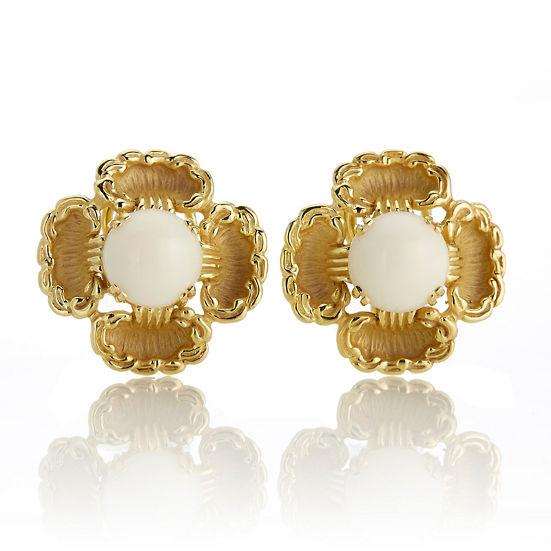White Coral & Gold Flower Earrings