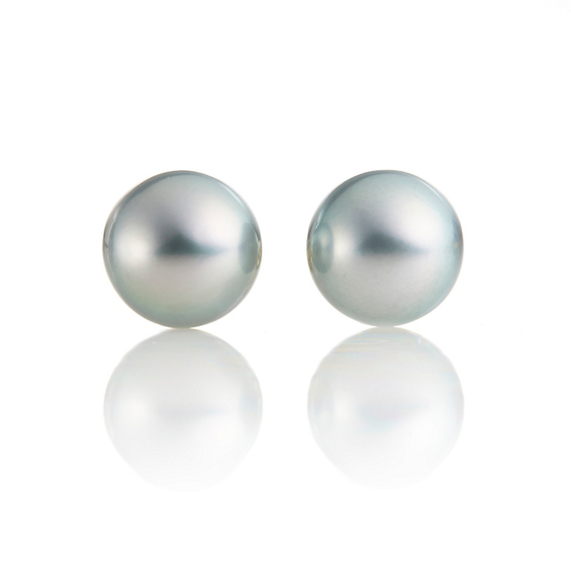 Gump's Blue Green Tahitian Pearl Earrings, 9.5mm