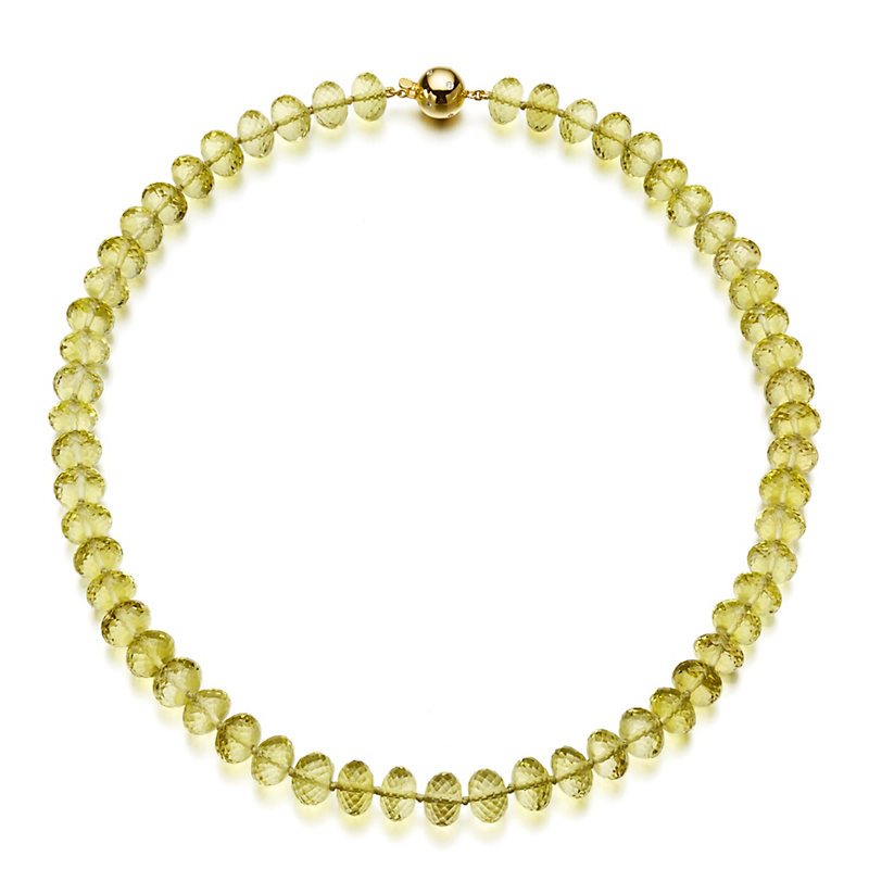 Gump's Faceted Lemon Quartz Rondelle Necklace