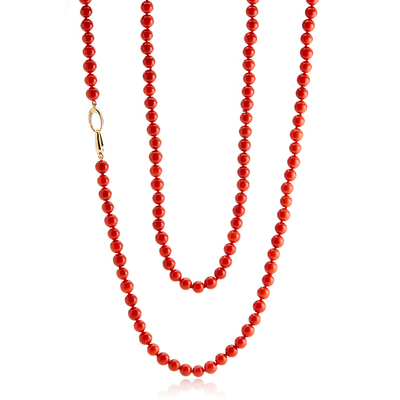 Gump's Red Coral And Double Gold Oval Necklace