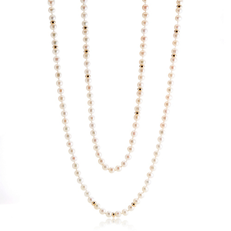 Gump's  Round Pearl & Gold Rope Necklace