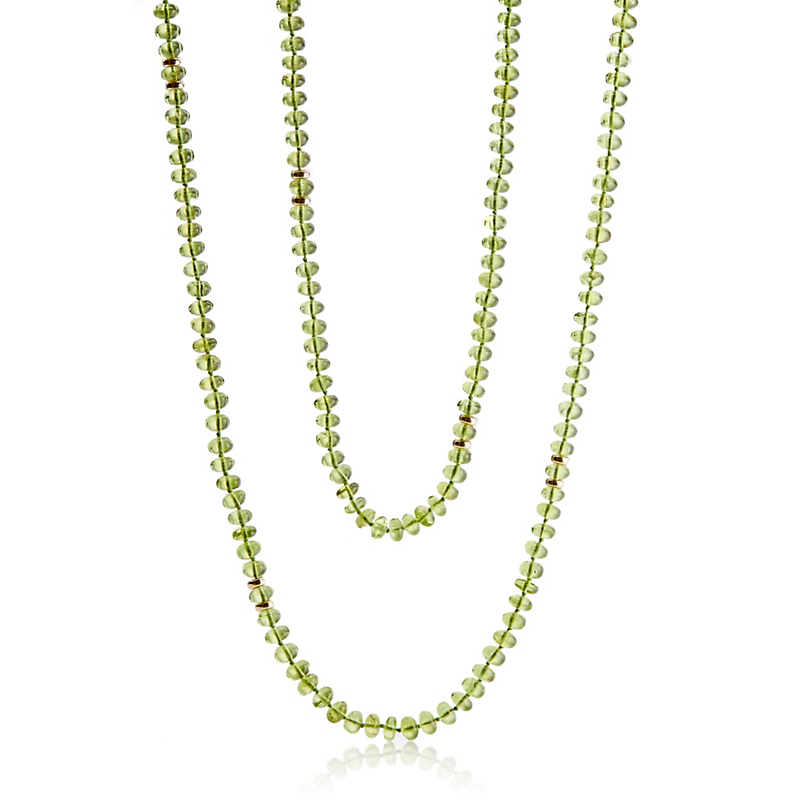 Gump's Smooth Peridot & Gold Rope Necklace