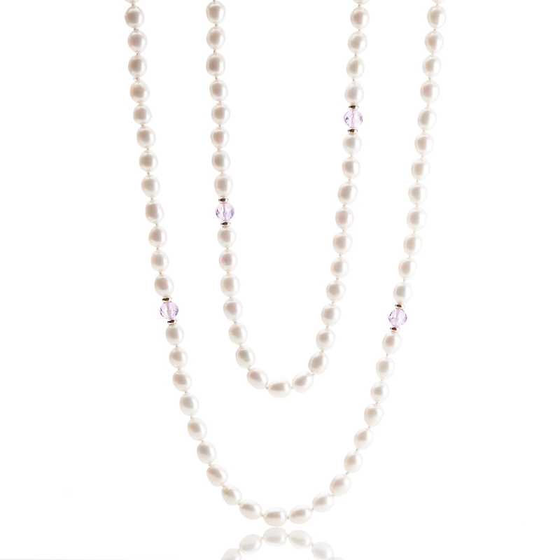 Gump's  Pearl & Faceted Amethyst Gold Rope Necklace