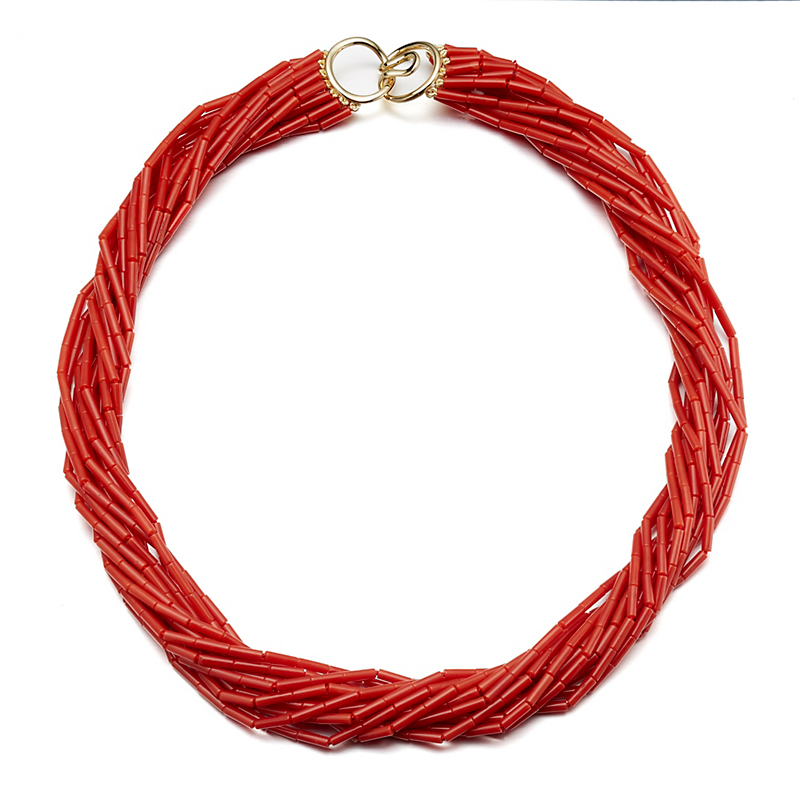 Gump's Red Coral Fourteen Strand Twist Necklace