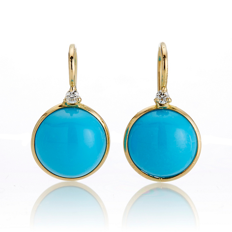 Round Turquoise & Diamond Drop Earrings