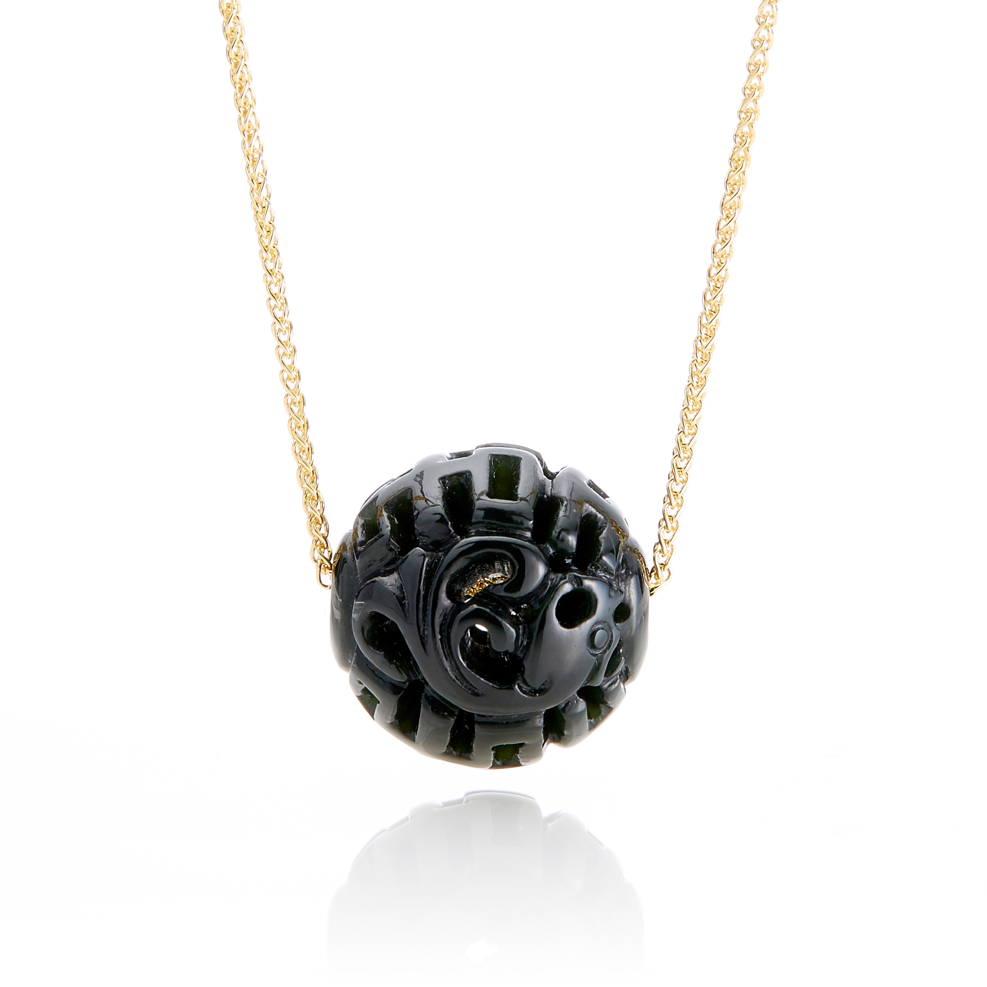 Gump's Black Nephrite Jade Dragon Ball Necklace
