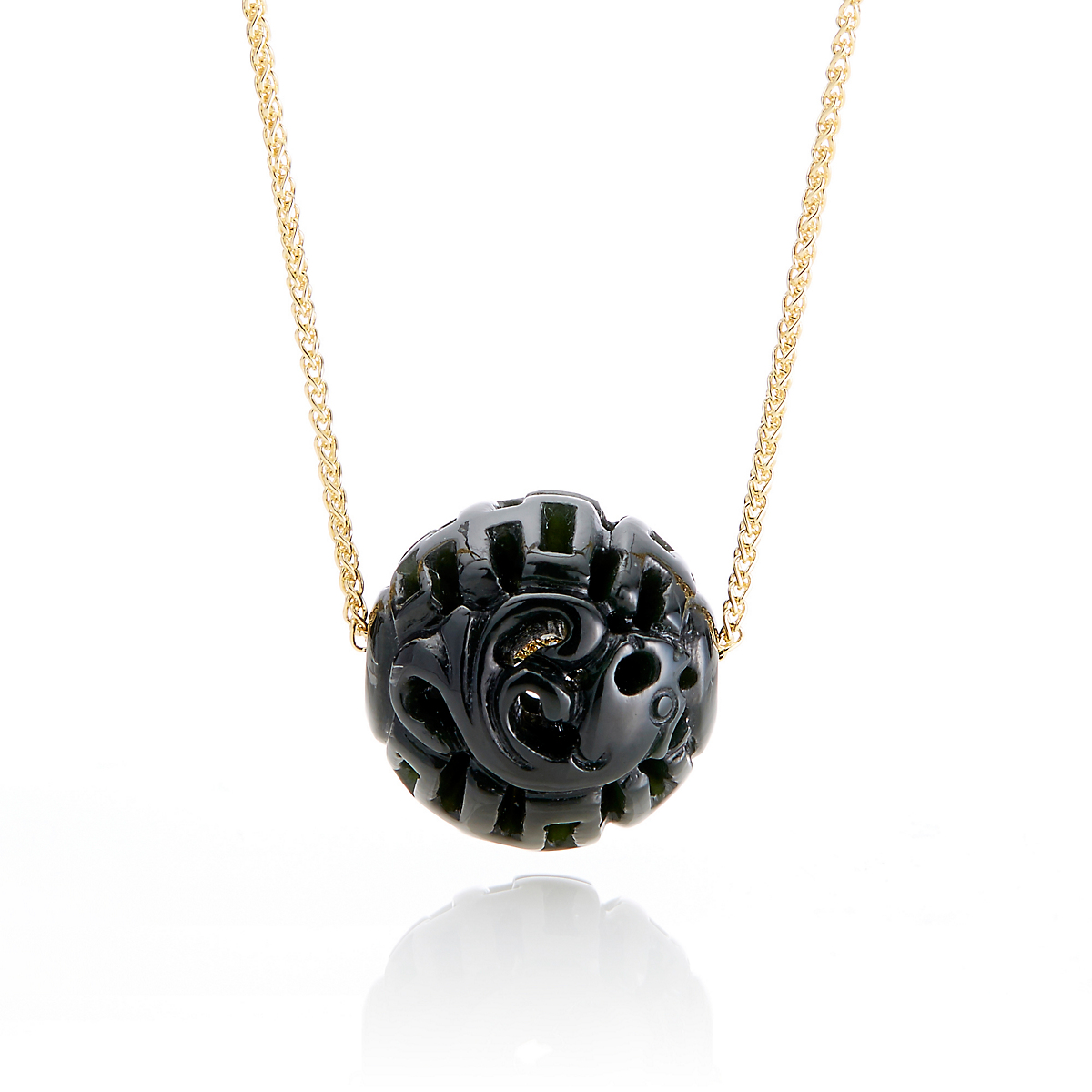 Gump's Black Nephrite Jade Carved Bead Pendant Necklace