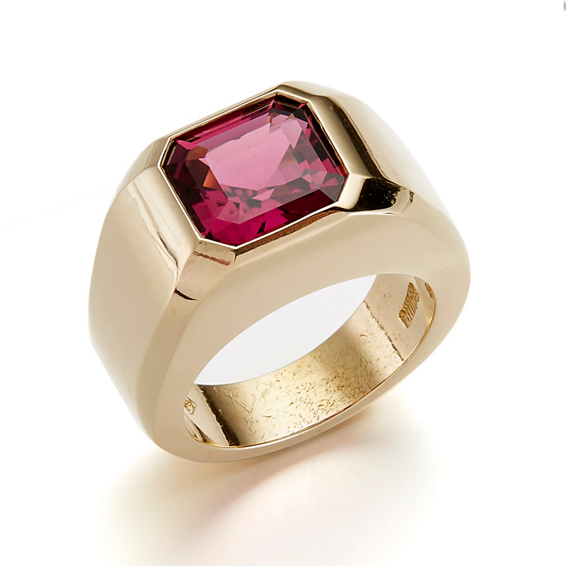 Gump's Dark Pink Tourmaline Emerald-Cut Signet Ring