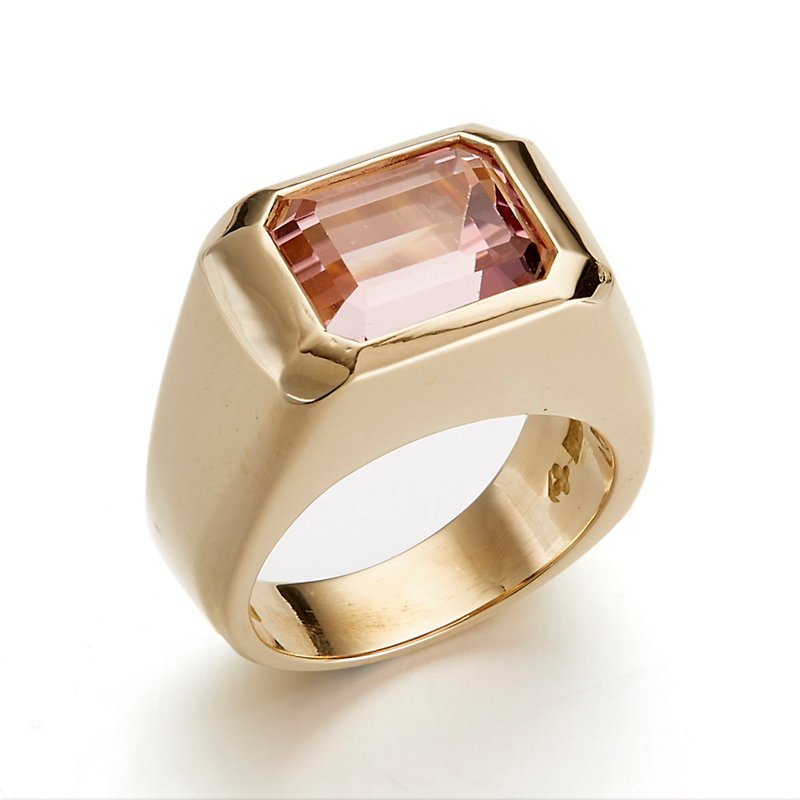 Gump's Light Pink Tourmaline Emerald-Cut Signet Ring