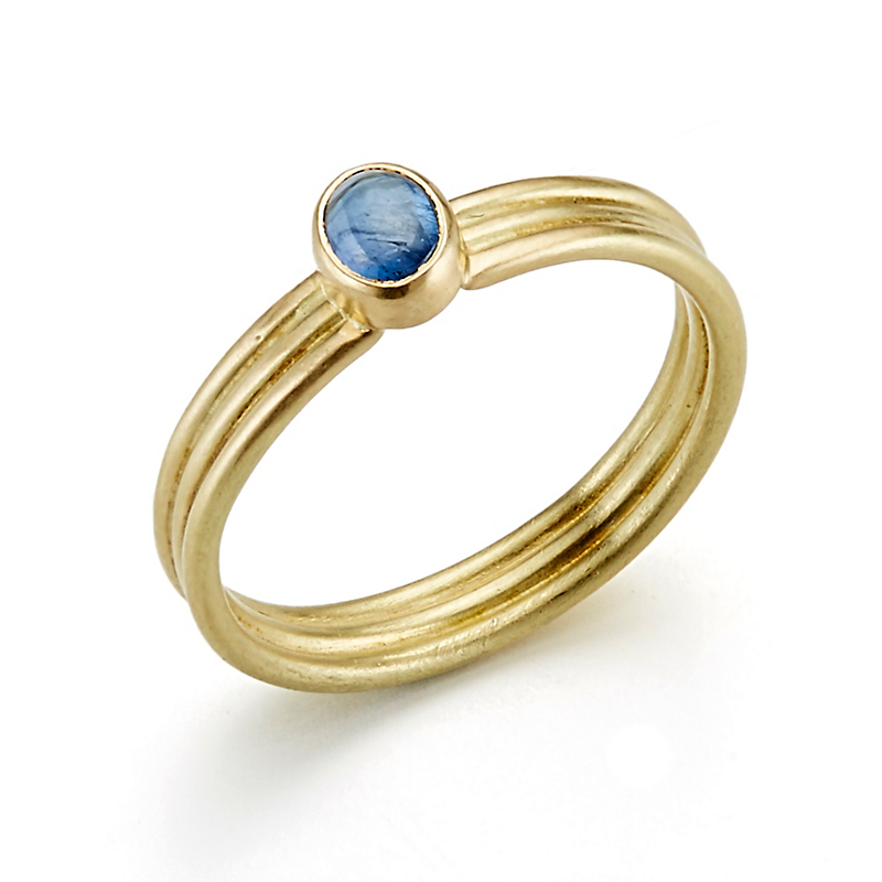 Monica Marcella Sapphire Triple Grooved Ring