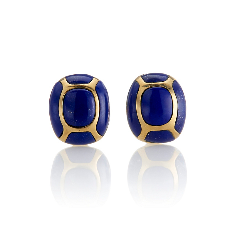 Gump's Lapis & Gold Stud Earrings