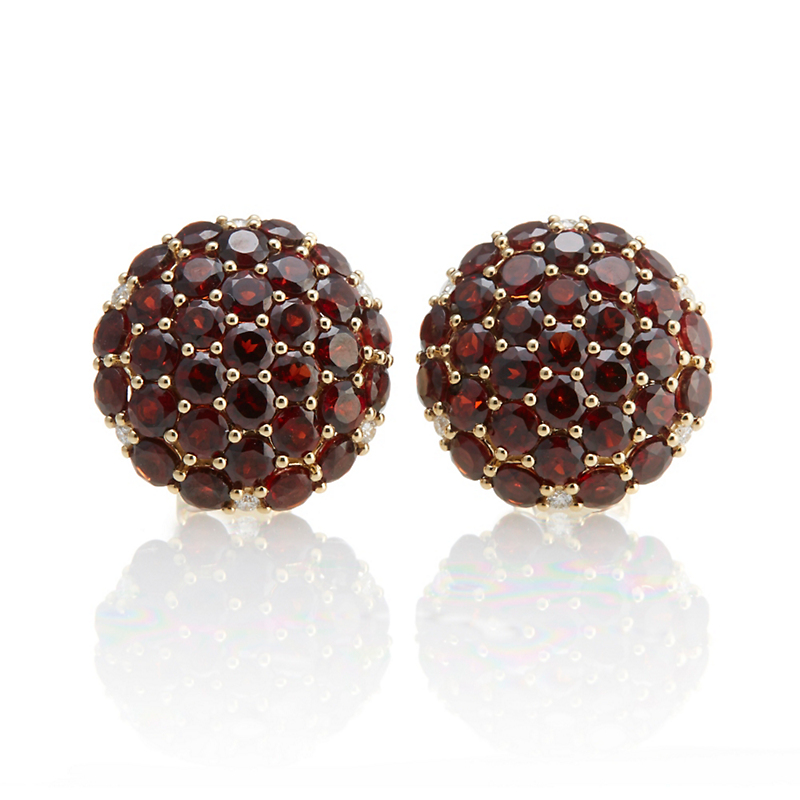 Gump's Garnet Pavé Button Earrings