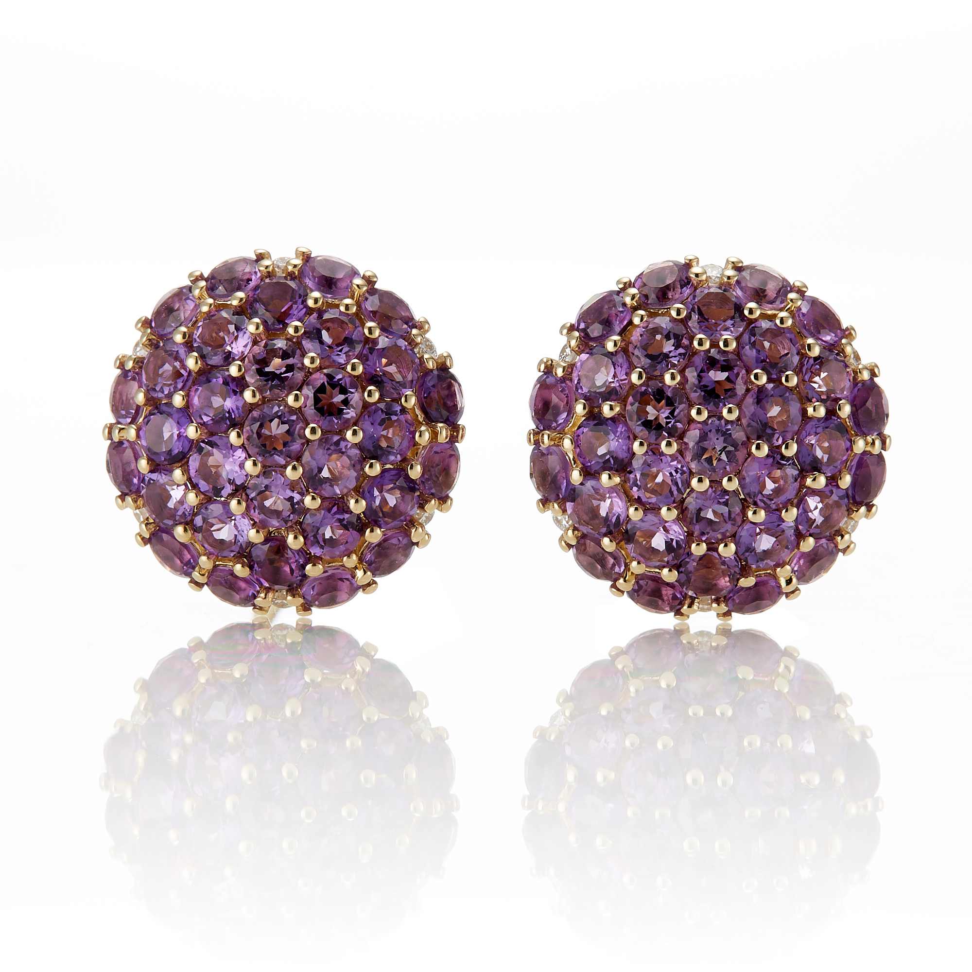 Gump's Amethyst Pave Button Earrings