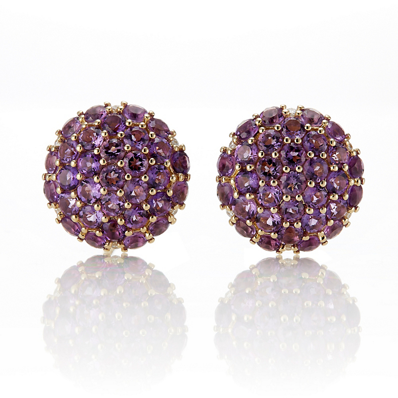 Gump's Amethyst Pavé Button Earrings