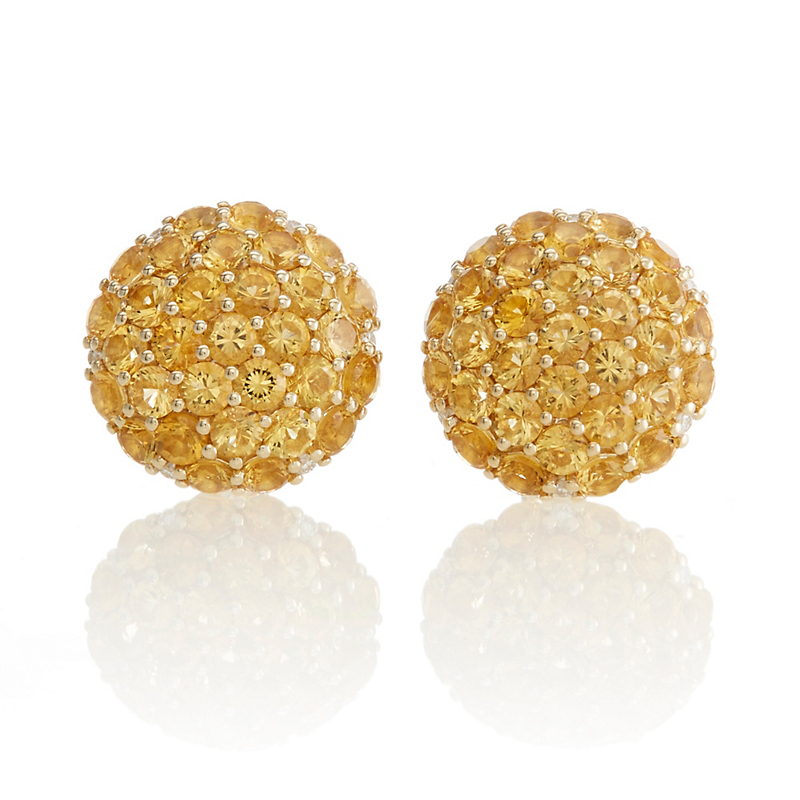 Gump's Citrine Pave Button Earrings