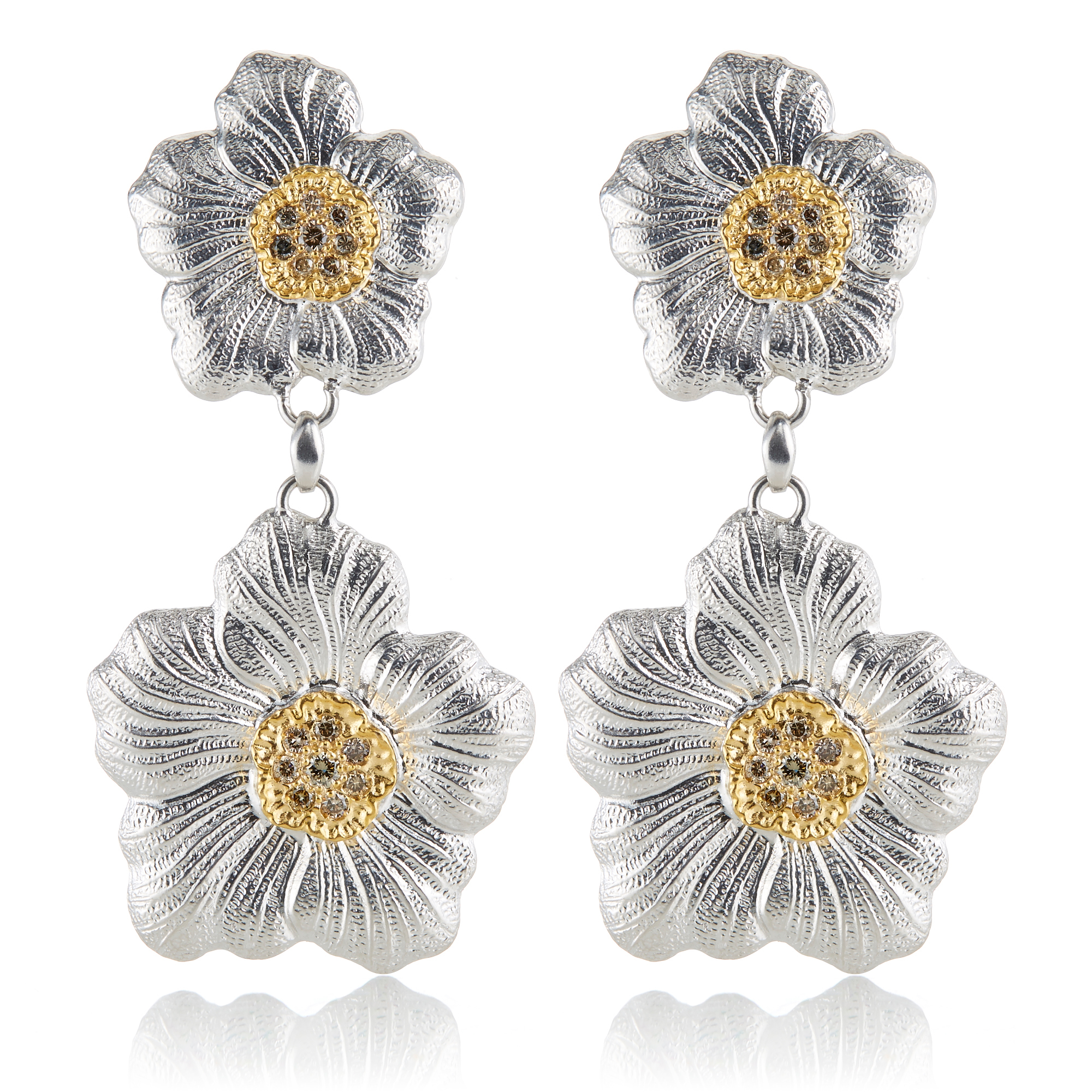 Buccellati Diamond Gardenia Blossom Drop Earrings