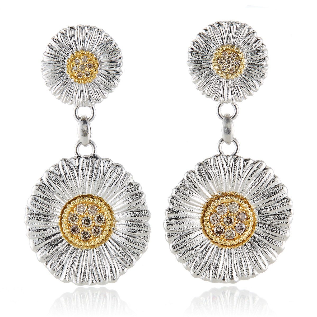 Buccellati Diamond Daisy Blossom Drop Earrings