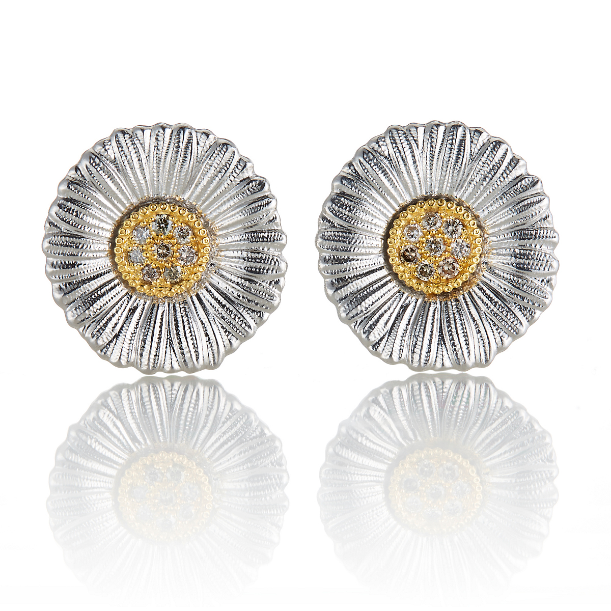 Buccellati Large Daisy Blossom With Diamonds Earrings