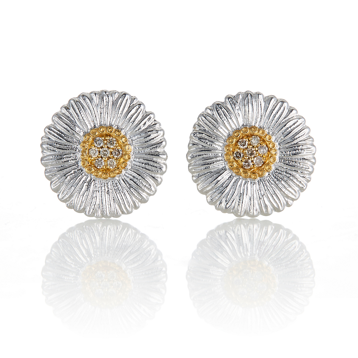 Buccellati Small Daisy Blossom With Diamonds Earrings