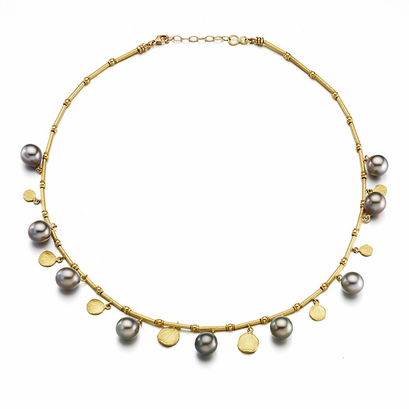 Barbara Heinrich Grey Tahitian Pearl & Gold Petal Necklace