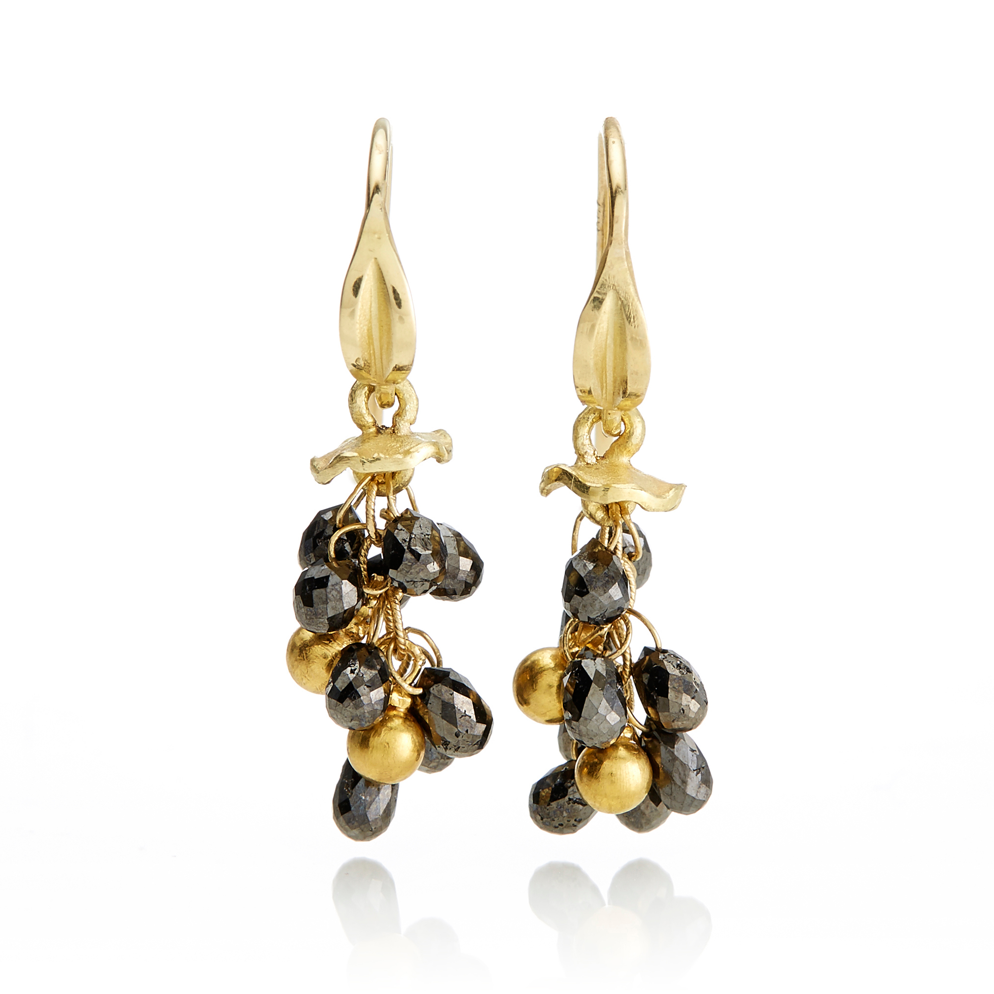 Barbara Heinrich Black Diamond Briolette Earrings With Gold Drops
