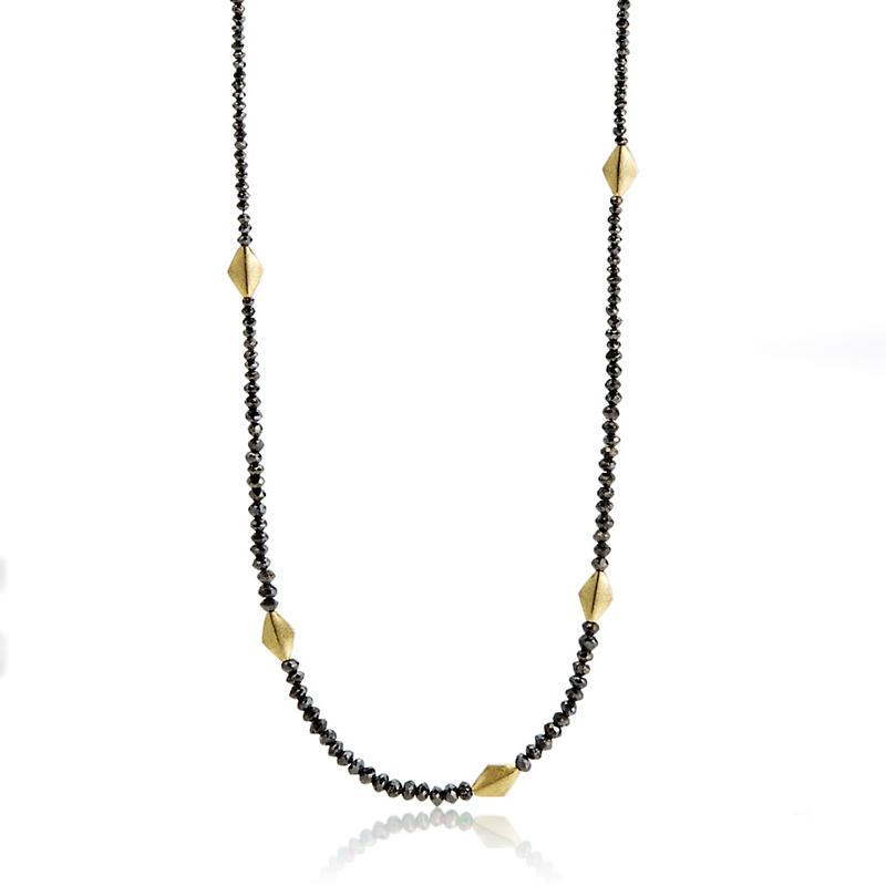 Barbara Heinrich Black Diamond & Gold Kite Spacer Necklace