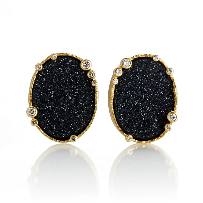 Barbara Heinrich Oval Druzy Earrings with Diamonds