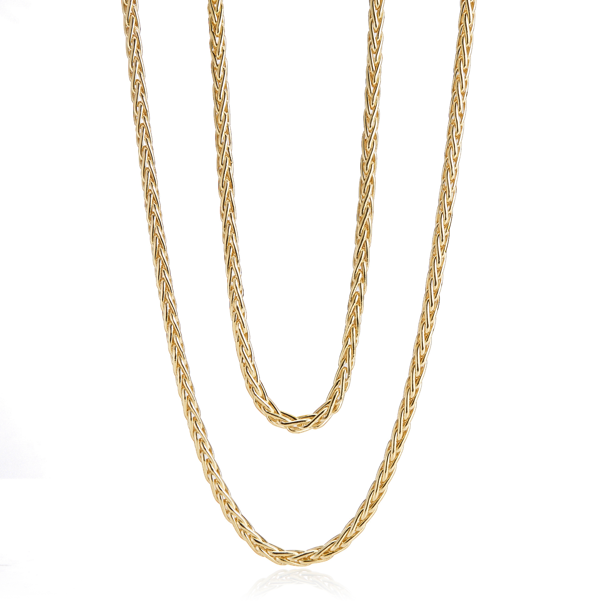 Long Gold Wheat Chain Necklace