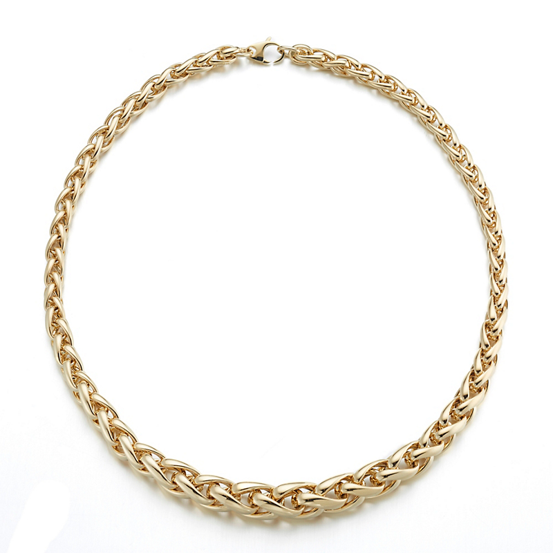 Graduated Gold Wheat Chain Necklace